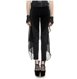 Gothic Black Embroidered Slim Fit Pants With Black Mesh Fork Tail For Women