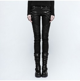 Punk Rock Brushed Print Slim Fit Pants With Spikes And Leather Straps For Women