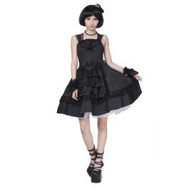 Gothic Lolita Black Floral Lace Bubble Dress For Women