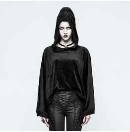 Gothic Black Fleece Hooded Loose Sweatshirt For Women