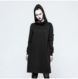 Punk Rock Knitted Long Sleeves Hooded Long Sweater For Women