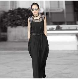 Lolita Black Sheer Top Sleeveless Maxi Dress For Women