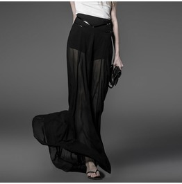 Punk Rock Black Chiffon See Thru Maxi Skirt For Women