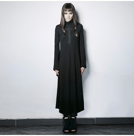 Gothic Black Cross Hollow Out Trumpet Sleeves Slim Fit Dress For Women
