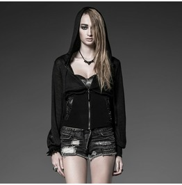 Punk Rock Black Fitted Waist Hooded Trumpet Sleeves Sweater For Women