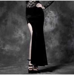 Gothic Black Velvet Asymmetric Skirt For Women