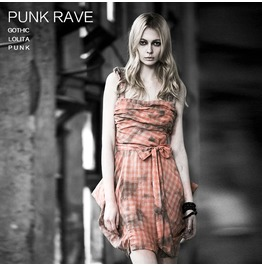 Punk Orange Checkered Cotton Sleeveless Dress For Women