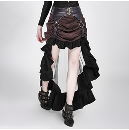 Steampunk Coffee Colored Striped Double Skirt With Ruffled Hems For Women