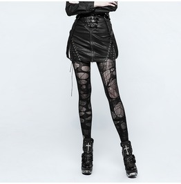 Punk Rock Black Pu Leather Zippered Mini Skirt With Suspender Straps For Women