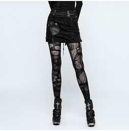 Punk Rock Black Torn Denim Skirt With Miasligned Pocket For Women