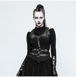 Punk Rock Black Pu Leather Spiked Shoulders Double Waist Belt Vest For Women