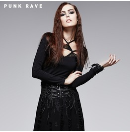 Gothic Black Cobweb Print Multi Triangle Halterneck Long Sleeves Blouse For Women