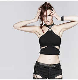 Punk Rock Black Denim Detachable Collar Halter Cropped Top For Women