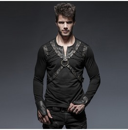 Punk Rock Black Knitted Long Sleeves T Shirt With Leather Vest Detail For Men