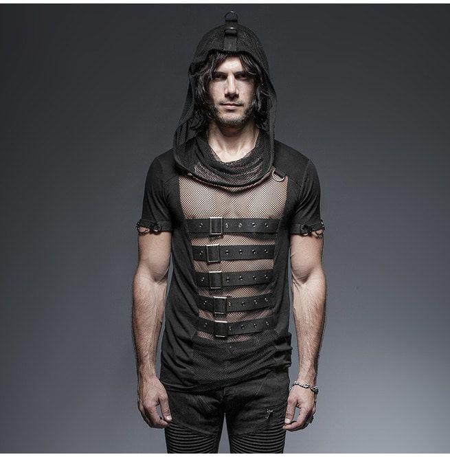 6115dc3a77 Punk Rock Black See Thru Mesh Hooded Slim Fit T Shirt | RebelsMarket