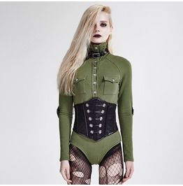 Punk rave womens punk slim fit siamese military uniform turtleneck long sleeve shirt standard tops