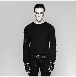 Punk Rock Black Riveted Sleeves Sweater With Detachable Chains For Men