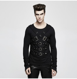 Punk Rock Black Knitted Slim Fit Sweater With Buckled Body Straps For Men