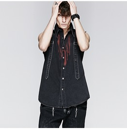 Punk Rock Black Denim Dropping Blood Print Sleeveless T Shirt For Men