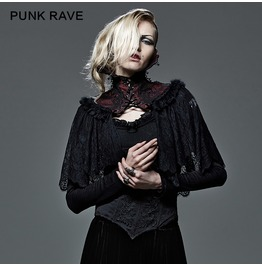 Gothic Black And Red Floral Lace High Collar Cape For Women