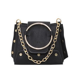 Metal Ring & Chain Rock Style Vegan Leather Women Handbag