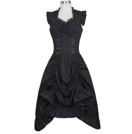 Punk Gothic Victorian Sleeveless V Neck Lace Up Corset Ruffle Dress
