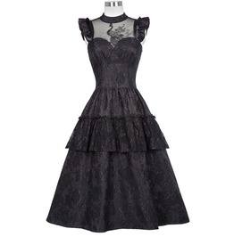 Black High Neck Ruffle Design Lace Punk Gothic Victorian Dress