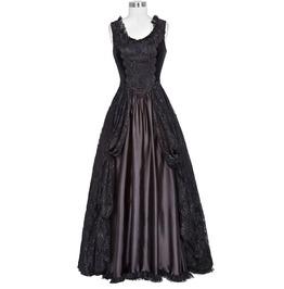 Gothic Lolita Victorian Lace Satin Renaissance Black Sleeveless Dresses