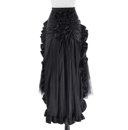 Steampunk Vintage Victorian Ruffle Burlesque High Waist Long Maxi Skirt