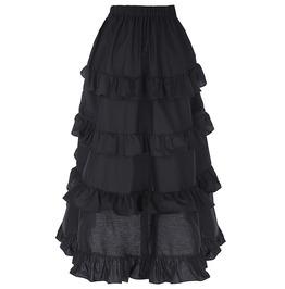 Gothic Retro Vintage High Low Asymmetrical Ruffle Skirt