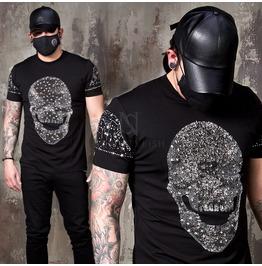 Sparkling Beads Star Skull Slim T Shirts 852