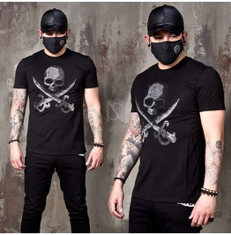 Sparkling Beads Pirates Skull Slim T Shirts 851