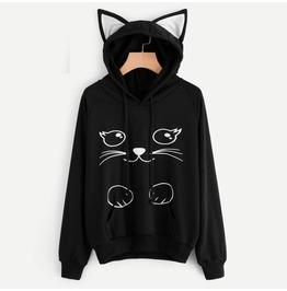 Autumn Harajuku Goth Cat Ears Printed Long Sleeve Women Hoodie Sweatshirt