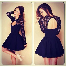 Women Sexy Floral Lace Dress Long Sleeve Backless Party Bandage