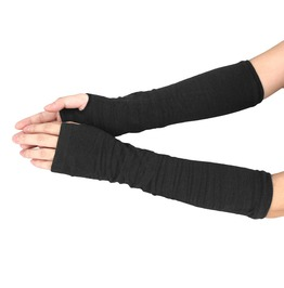 Fingerless Long Sleeves Goth Cashmere Blend Mittens Women Arm Warmers