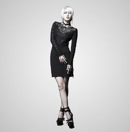 8aa08e81e24 Casual Black Gothic Dresses With Lace Collar