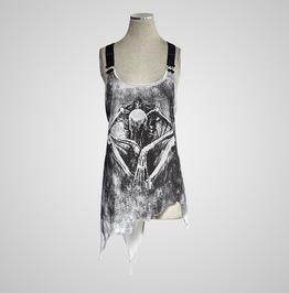 Coffee Colorful Irregular Demon Bone Print Punk Vest