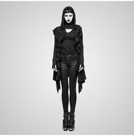 Punk Black Woolen Hooded Sweater For Women