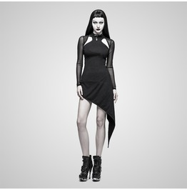 Punk Black Halter Dress With See Thru Mesh Sleeves For Women