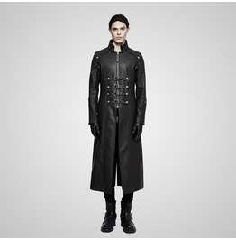 Punk Rock Black Leather Multi Straps High Collar Zip Up Long Coat For Men