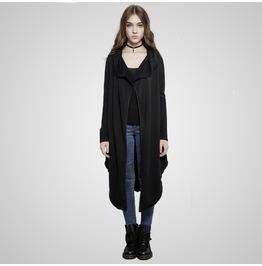 Punk Black Fleece Long Jacket For Women
