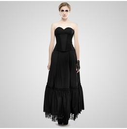 Gothic Black Backless Corset Style Evening Dress For Women