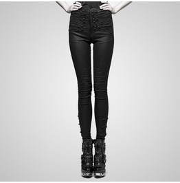 Gothic Black Skinny Disc Flower Buttons Pants For Women