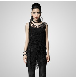 Gothic Black Woven Spiderweb Hollow Out Dress For Women