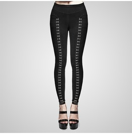 Punk Black Metal Buckled Leggings For Women