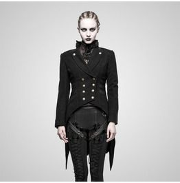 Gothic Steampunk Slim Fit Double Breasted PU Leather Patchwork Swallow Tail Jacket