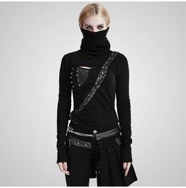 Punk Black Asymmetric High Collar Knitted T Shirt For Women