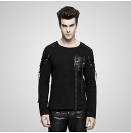 Punk Black Military Uniform Style Long Sleeves T Shirt For Men