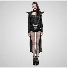 Punk Black Leather Queen Style Long Coat For Women