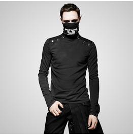 Punk Black High Neck Long Sleeves T Shirt For Women